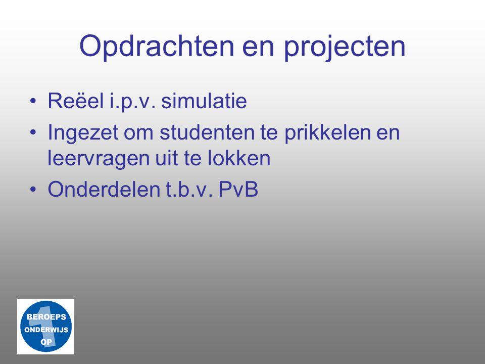 Praktijk Praktijkopdrachten Opleiding overstijgend Werkprocessen op locatie BPV Samenwerking bedrijven, instellingen, etc.