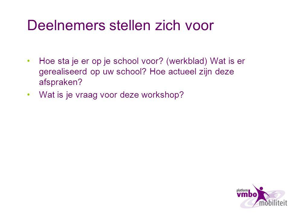 Deelnemers stellen zich voor Hoe sta je er op je school voor? (werkblad) Wat is er gerealiseerd op uw school? Hoe actueel zijn deze afspraken? Wat is