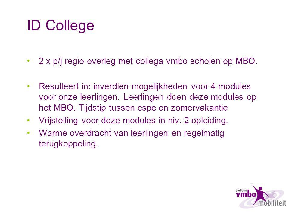 ID College 2 x p/j regio overleg met collega vmbo scholen op MBO. Resulteert in: inverdien mogelijkheden voor 4 modules voor onze leerlingen. Leerling