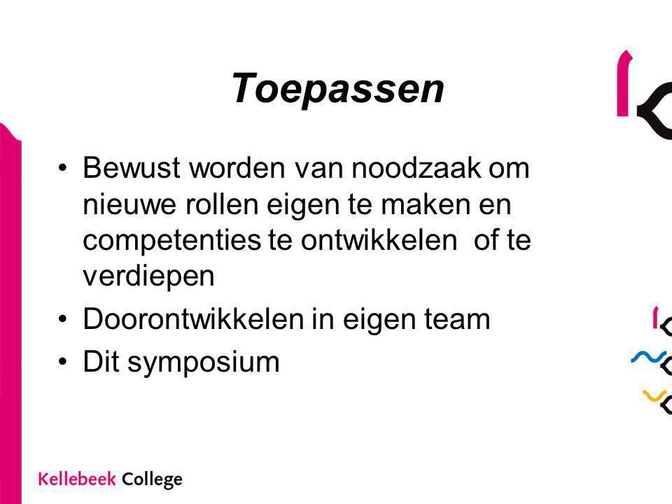 Toepassen Bewust worden van noodzaak om nieuwe rollen eigen te maken en competenties te ontwikkelen of te verdiepen Doorontwikkelen in eigen team Dit symposium