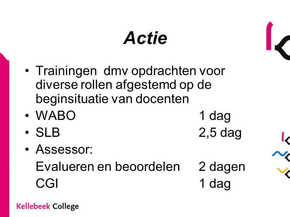 Actie Trainingen dmv opdrachten voor diverse rollen afgestemd op de beginsituatie van docenten WABO 1 dag SLB 2,5 dag Assessor: Evalueren en beoordele