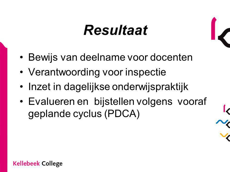 Resultaat Bewijs van deelname voor docenten Verantwoording voor inspectie Inzet in dagelijkse onderwijspraktijk Evalueren en bijstellen volgens vooraf geplande cyclus (PDCA)