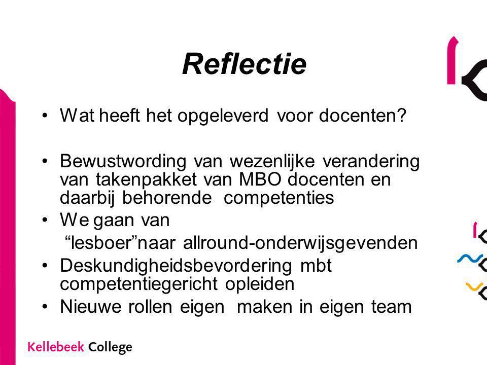 Reflectie Wat heeft het opgeleverd voor docenten? Bewustwording van wezenlijke verandering van takenpakket van MBO docenten en daarbij behorende compe