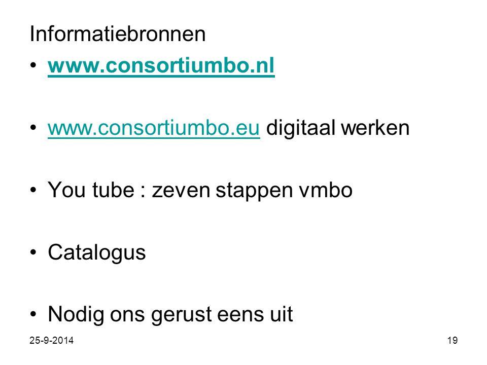 Informatiebronnen www.consortiumbo.nl www.consortiumbo.eu digitaal werkenwww.consortiumbo.eu You tube : zeven stappen vmbo Catalogus Nodig ons gerust