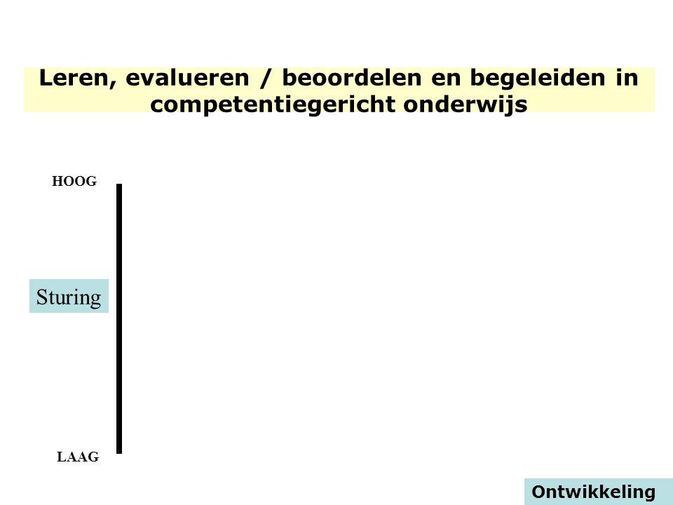 HOOG LAAG Ontwikkeling Sturing Leren, evalueren / beoordelen en begeleiden in competentiegericht onderwijs