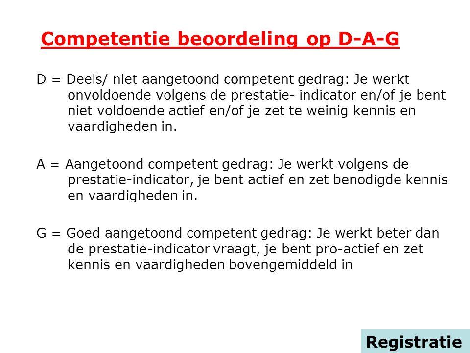 Competentie beoordeling op D-A-G D = Deels/ niet aangetoond competent gedrag: Je werkt onvoldoende volgens de prestatie- indicator en/of je bent niet