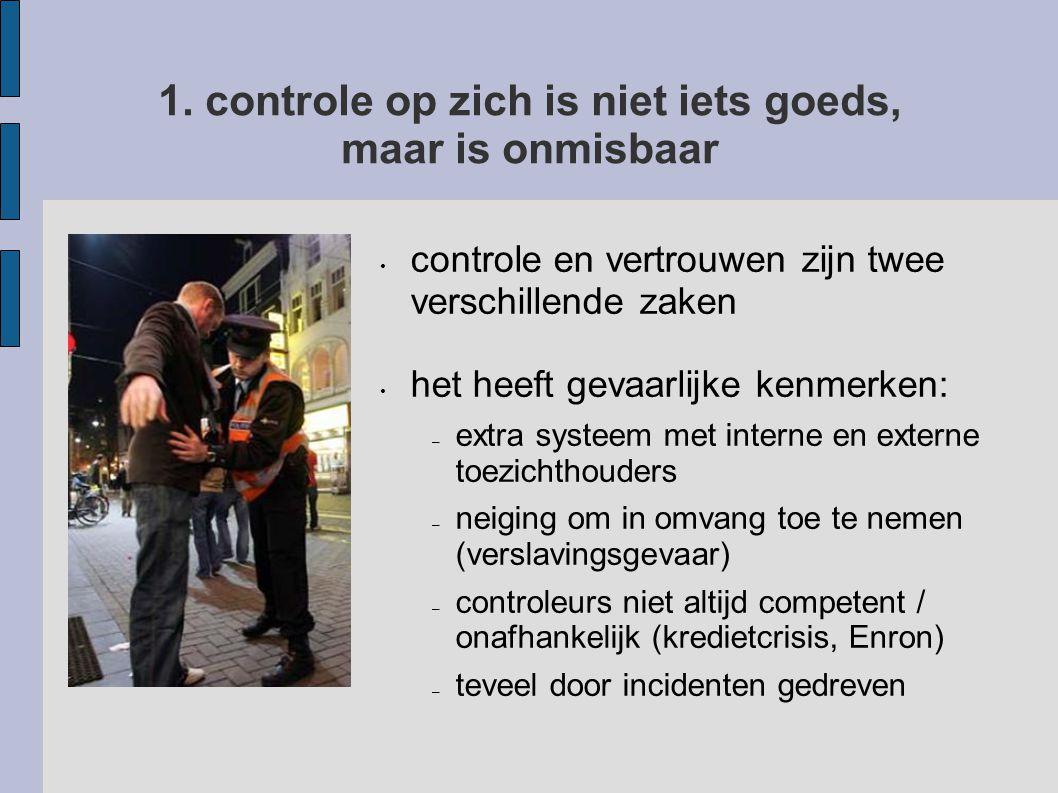 1. controle op zich is niet iets goeds, maar is onmisbaar controle en vertrouwen zijn twee verschillende zaken het heeft gevaarlijke kenmerken: – extr