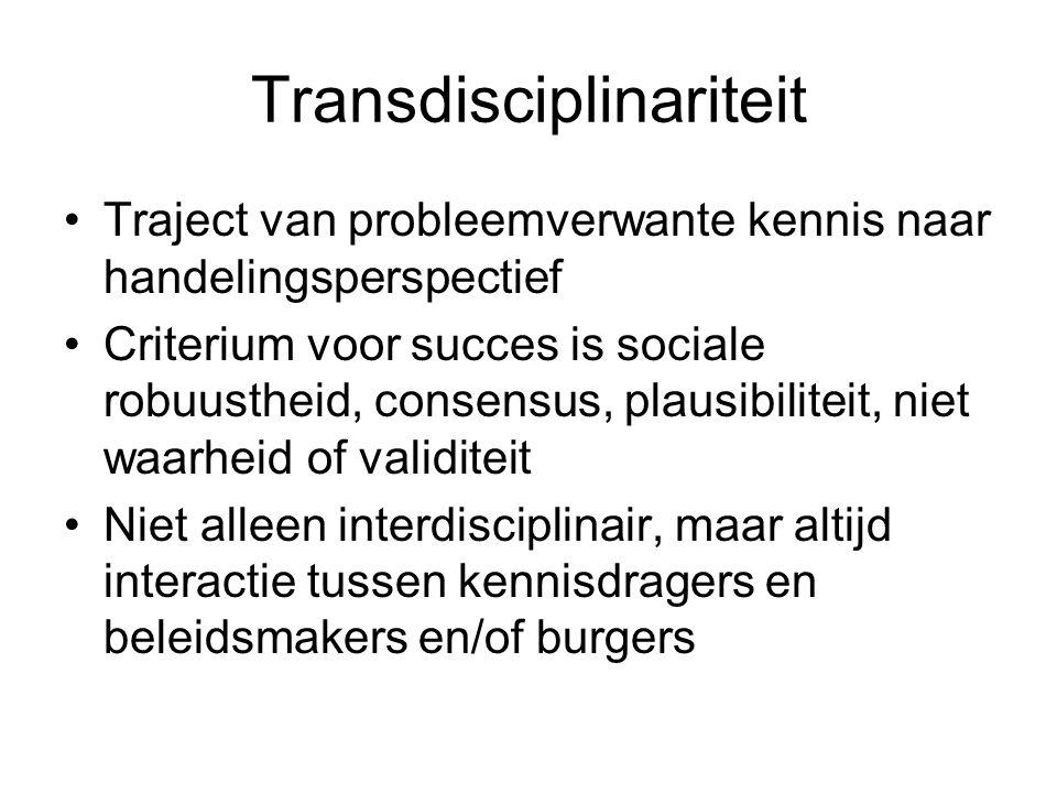 Transdisciplinariteit Traject van probleemverwante kennis naar handelingsperspectief Criterium voor succes is sociale robuustheid, consensus, plausibiliteit, niet waarheid of validiteit Niet alleen interdisciplinair, maar altijd interactie tussen kennisdragers en beleidsmakers en/of burgers