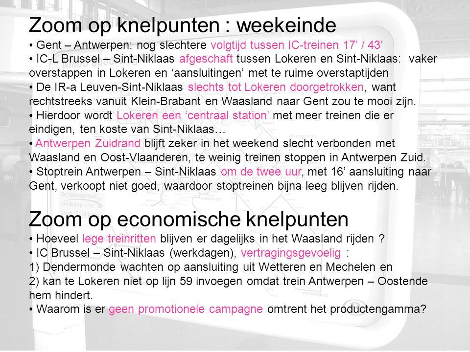 Zoom op knelpunten : weekeinde Gent – Antwerpen: nog slechtere volgtijd tussen IC-treinen 17' / 43' IC-L Brussel – Sint-Niklaas afgeschaft tussen Lokeren en Sint-Niklaas: vaker overstappen in Lokeren en 'aansluitingen' met te ruime overstaptijden De IR-a Leuven-Sint-Niklaas slechts tot Lokeren doorgetrokken, want rechtstreeks vanuit Klein-Brabant en Waasland naar Gent zou te mooi zijn.