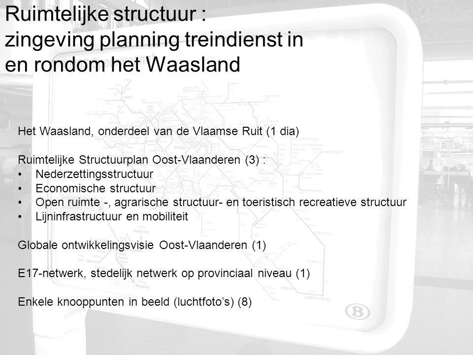 Ruimtelijke structuur : zingeving planning treindienst in en rondom het Waasland Het Waasland, onderdeel van de Vlaamse Ruit (1 dia) Ruimtelijke Struc