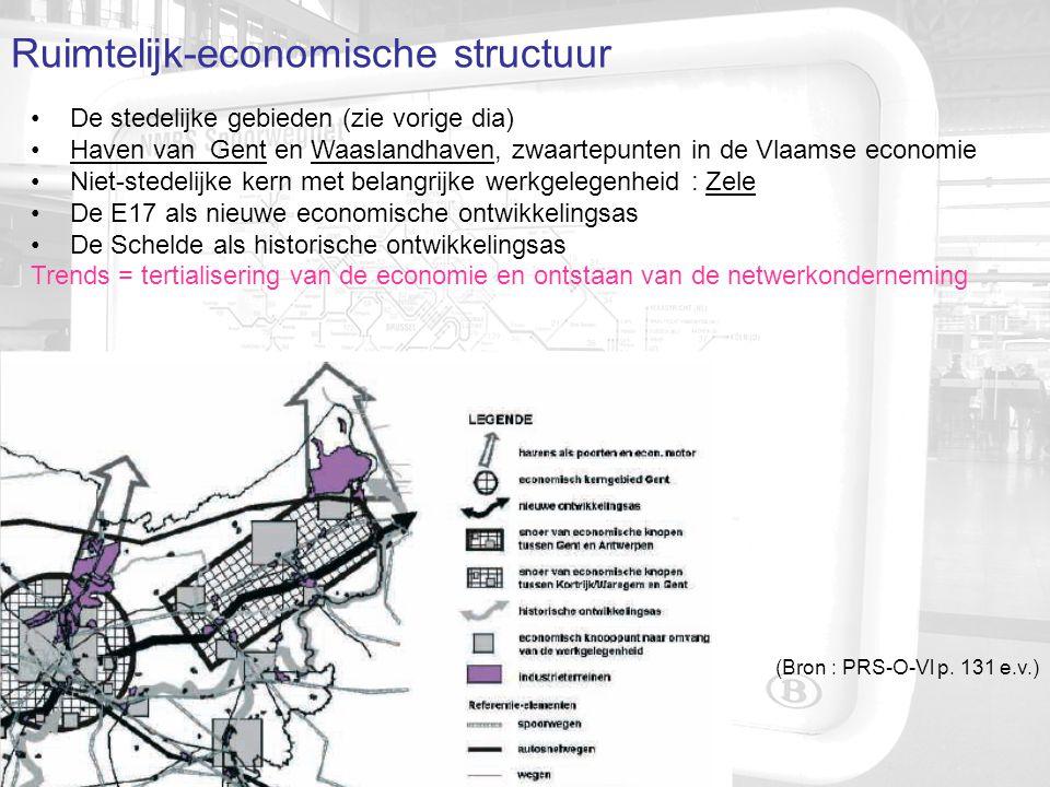 Lijninfrastructuur en mobiliteit Structurerende lijninfra : wegen, spoorwegen, waterwegen, pijpleidingen… Hoofdspoorlijn R+G = Antwerpen – Gent, met 5 hoofdstations (RSV) Hoofdspoorlijn R = Sint-Niklaas – Dendermonde – Brussel (RSV) (niet in PRS .