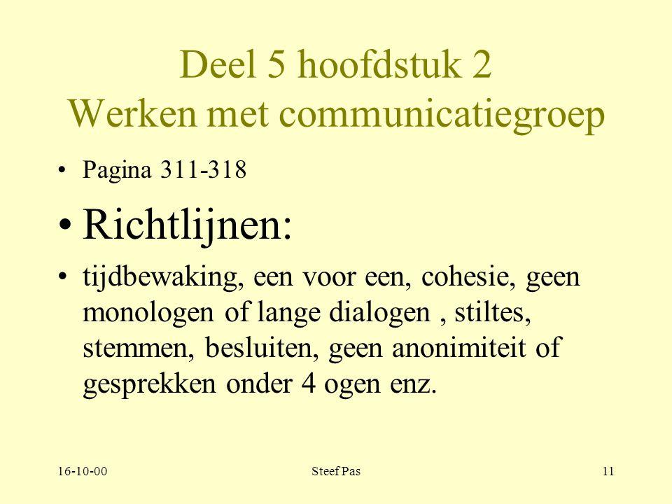 16-10-00Steef Pas10 Deel 5 hoofdstuk 2 Werken met communicatiegroep Pagina 310-321 2.1.