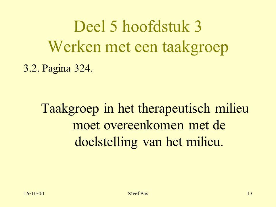 16-10-00Steef Pas12 Deel 5 hoofdstuk 3 Werken met een taakgroep Pagina 322 Inleiding: Taakgroep: is een groep mensen die samen een taak verrichten of aan iets werken.
