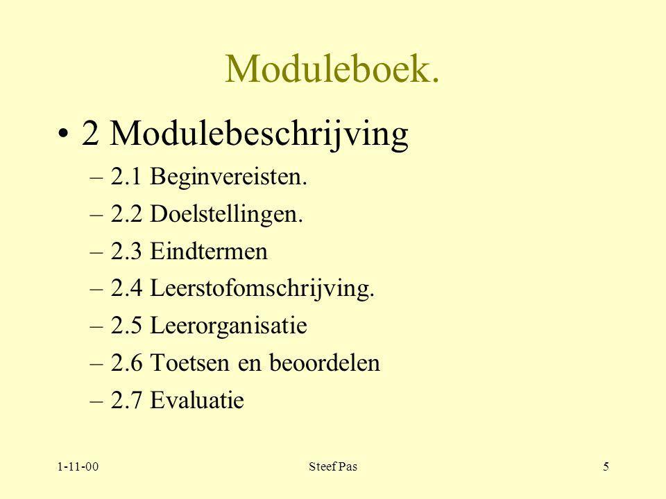 1-11-00Steef Pas4 Moduleboek 1.Algemeen: 1.1 Themaverhaal 1.2 Casuïstiek 1.3 Opdracht 2.