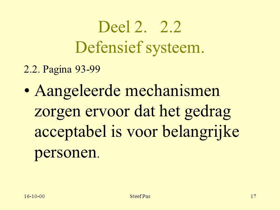 16-10-00Steef Pas16 Deel 2. 2.2 Defensief systeem 2.2. pagina 93-98 interne adaptie. verdediging naar binnen gericht. egobescherming tegen eisen van b