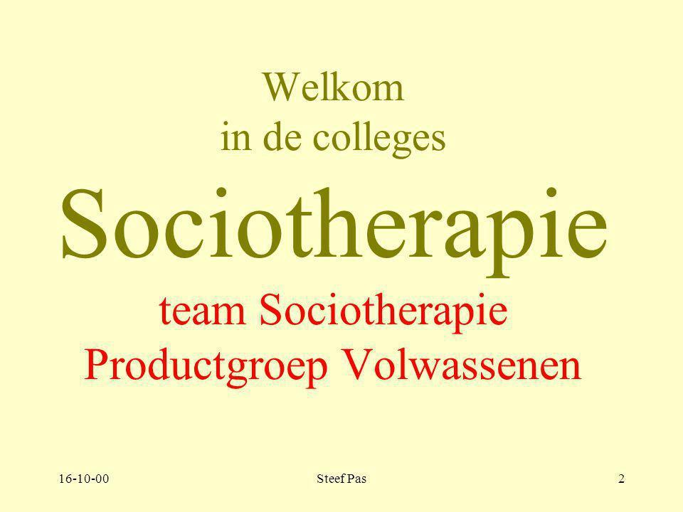 16-10-00Steef Pas2 Welkom in de colleges Sociotherapie team Sociotherapie Productgroep Volwassenen