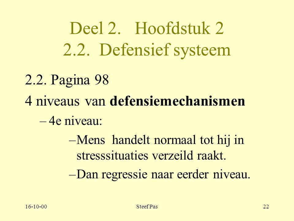 16-10-00Steef Pas21 Deel 2. Hoofdstuk 2 2.2. Defensief systeem 2.2. Pagina 97-98 4 niveaus van defensiemechanismen –3e niveau: –rationaliseren –intell