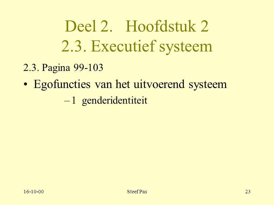 16-10-00Steef Pas22 Deel 2. Hoofdstuk 2 2.2. Defensief systeem 2.2. Pagina 98 4 niveaus van defensiemechanismen –4e niveau: –Mens handelt normaal tot