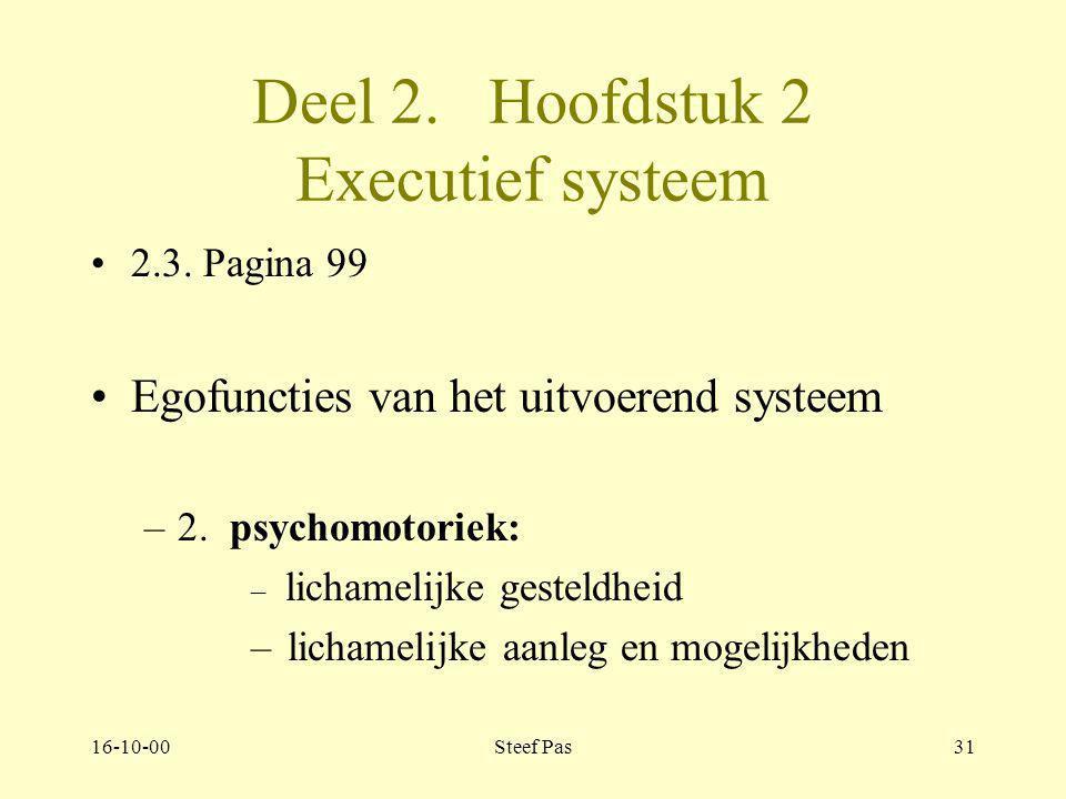 16-10-00Steef Pas30 Deel 2. Hoofdstuk 2 Executief systeem 2.3. Pagina 99 Egofuncties van het uitvoerend systeem –1. gender identiteit: geslachtsidenti