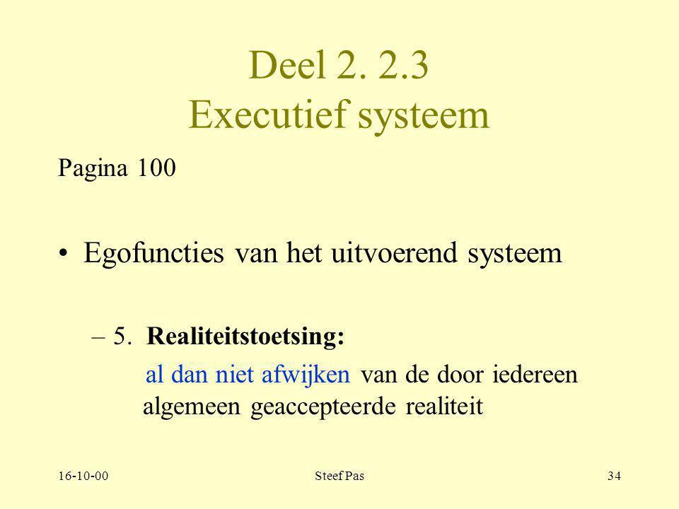 16-10-00Steef Pas33 Deel 2. Hoofdstuk 2 Executief systeem 2.3. Pagina 100 Egofuncties van het uitvoerend systeem –4. Emotionele gevoeligheid zelf voel