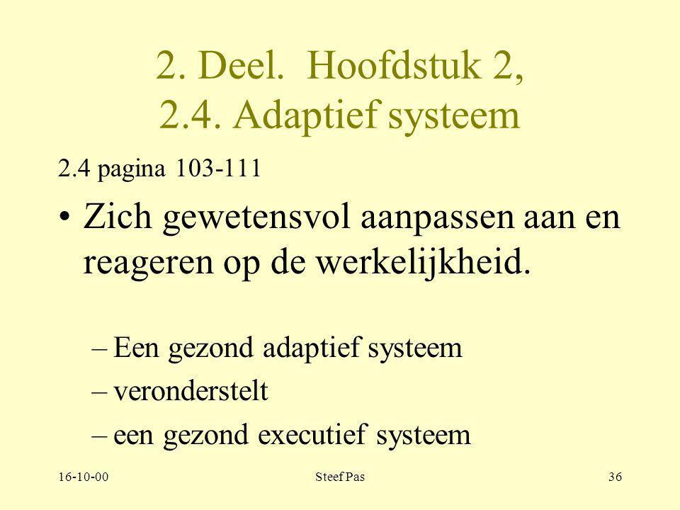16-10-00Steef Pas35 Deel 2. Hoofdstuk 2. 2.3. Executief systeem 2.3. Pagina 100 Egofuncties van het uitvoerend systeem –Objectrelaties: Verschil tusse