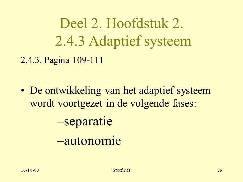 16-10-00Steef Pas38 Deel 2. Hoofdstuk 2. 2.4.2 Adaptief systeem 2.4.2. Pagina 107 De ontwikkeling van het adaptief systeem wordt voortgezet in de volg