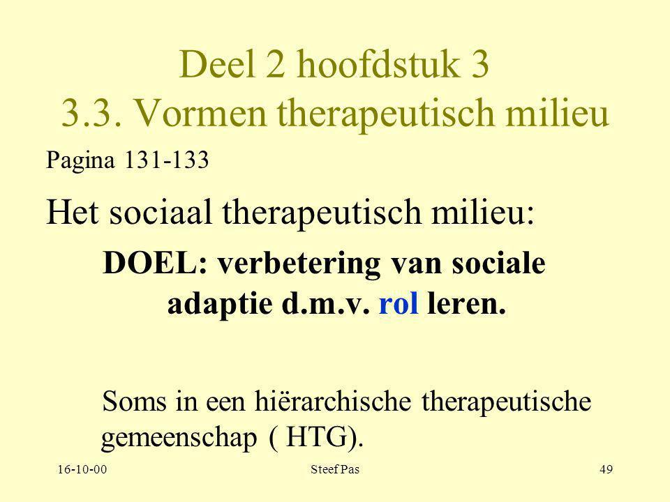 16-10-00Steef Pas48 Deel 2 hoofdstuk 3 3.2. Vormen therapeutisch milieu Pagina129-131 Het reconstructieve model: –psychotherapeut –sociotherapeut –cre