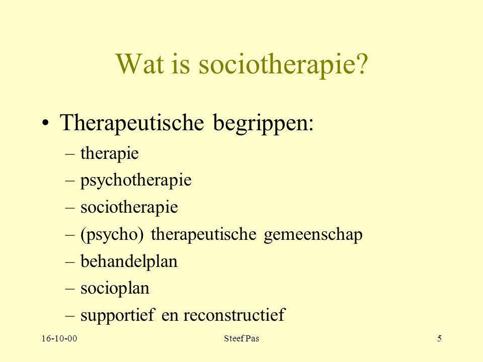 16-10-00Steef Pas4 Wat is sociotherapie? Deel 1 Verkenning Deel 2 Theorie Deel 3 De individuele patiënt Deel 4 De groep Deel 5 De Praktijk Deel 6 Mana
