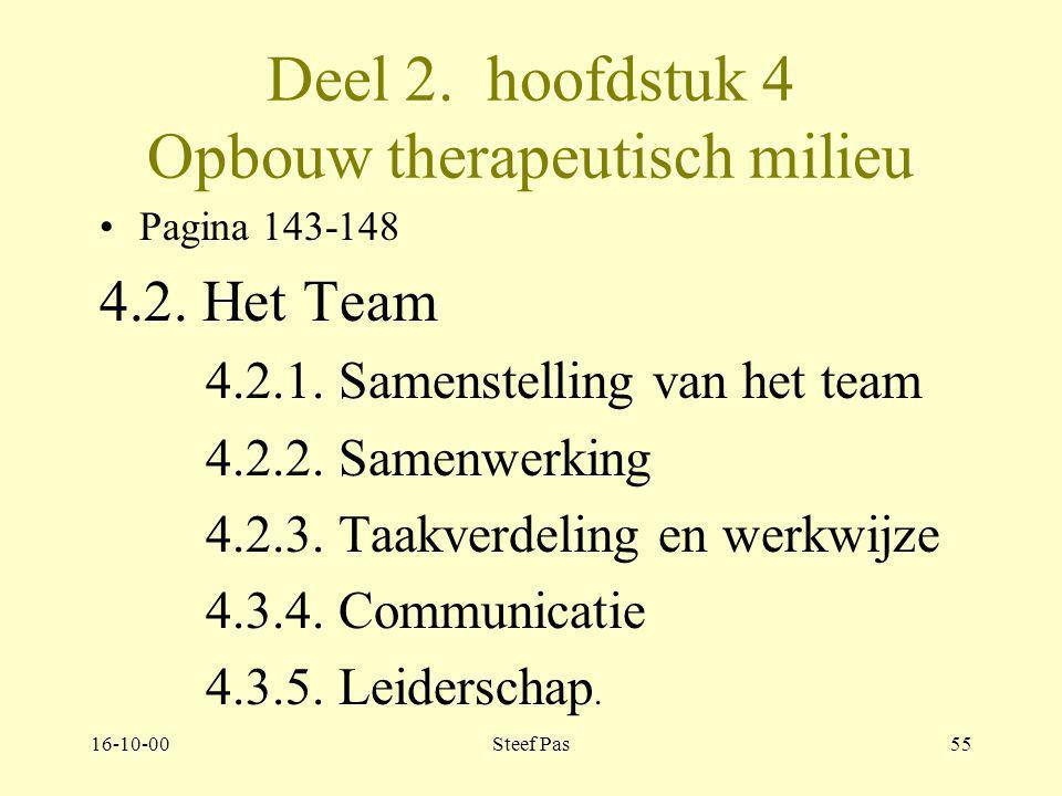 16-10-00Steef Pas54 Deel 2. hoofdstuk 4 Opbouw therapeutisch milieu Pagina 143-148 4.2. Het team groep mensen die vanuit eigen deskundigheid in samens