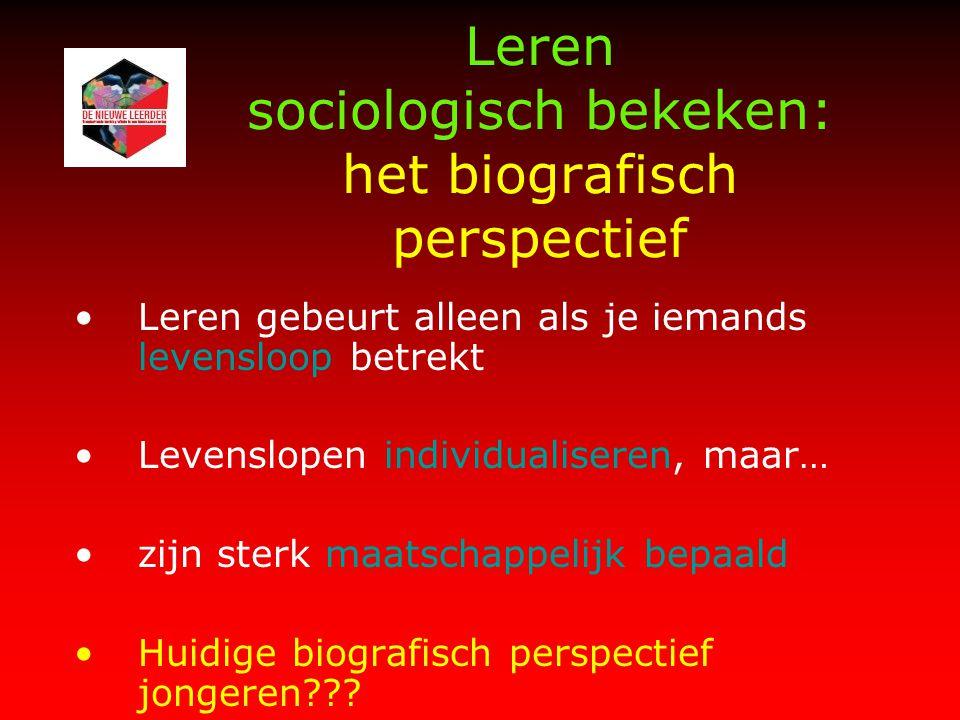 Leren sociologisch bekeken: het biografisch perspectief Leren gebeurt alleen als je iemands levensloop betrekt Levenslopen individualiseren, maar… zijn sterk maatschappelijk bepaald Huidige biografisch perspectief jongeren