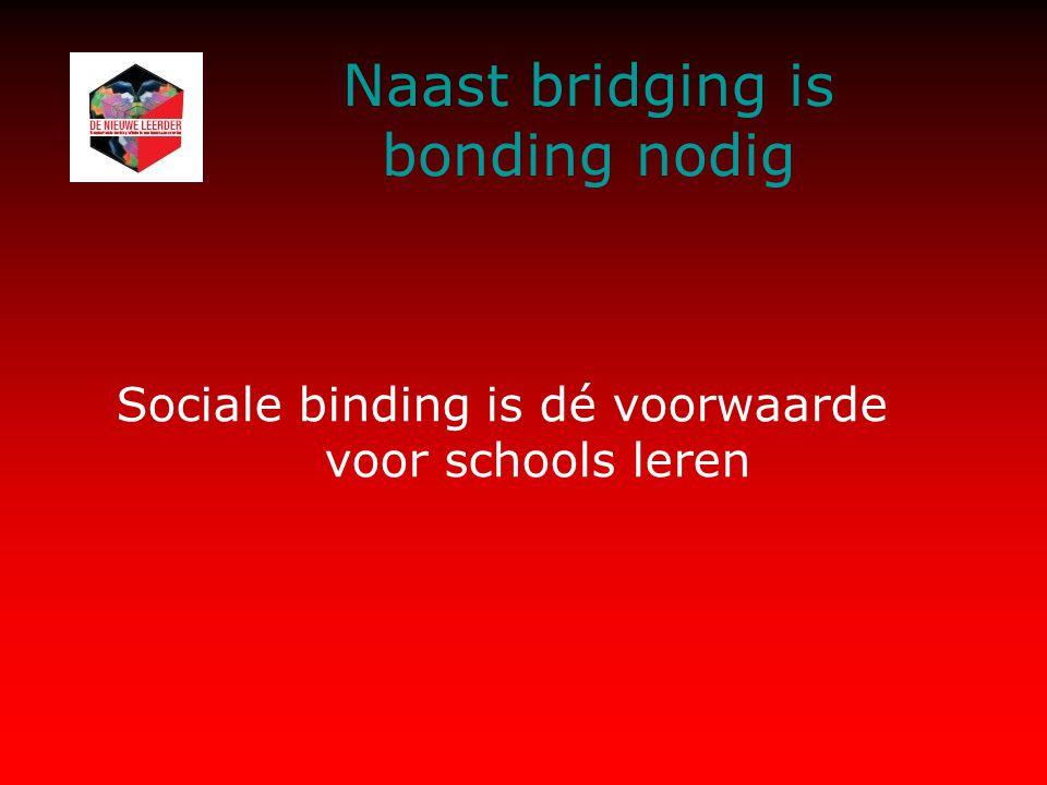 Naast bridging is bonding nodig Sociale binding is dé voorwaarde voor schools leren