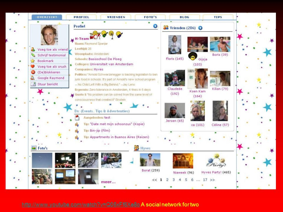 http://www.youtube.com/watch v=Q06xFf6Xe8ohttp://www.youtube.com/watch v=Q06xFf6Xe8o A social network for two