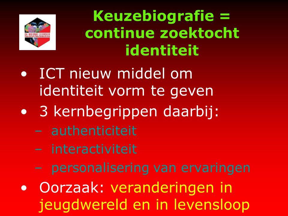 Keuzebiografie = continue zoektocht identiteit ICT nieuw middel om identiteit vorm te geven 3 kernbegrippen daarbij: –authenticiteit –interactiviteit –personalisering van ervaringen Oorzaak: veranderingen in jeugdwereld en in levensloop