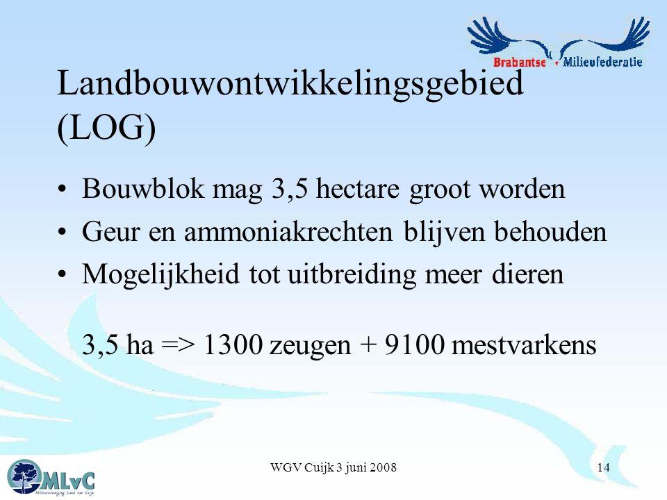 WGV Cuijk 3 juni 200814 Landbouwontwikkelingsgebied (LOG) Bouwblok mag 3,5 hectare groot worden Geur en ammoniakrechten blijven behouden Mogelijkheid tot uitbreiding meer dieren 3,5 ha => 1300 zeugen + 9100 mestvarkens