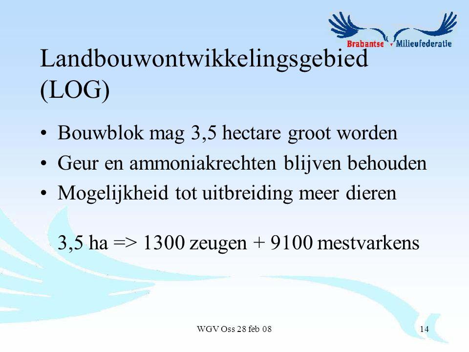 WGV Oss 28 feb 0814 Landbouwontwikkelingsgebied (LOG) Bouwblok mag 3,5 hectare groot worden Geur en ammoniakrechten blijven behouden Mogelijkheid tot uitbreiding meer dieren 3,5 ha => 1300 zeugen + 9100 mestvarkens