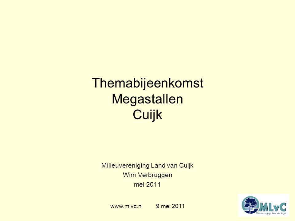 Themabijeenkomst Megastallen Cuijk Milieuvereniging Land van Cuijk Wim Verbruggen mei 2011 www.mlvc.nl 9 mei 2011