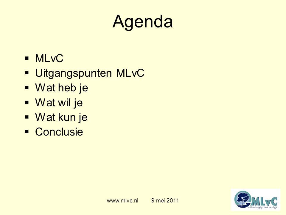 Agenda  MLvC  Uitgangspunten MLvC  Wat heb je  Wat wil je  Wat kun je  Conclusie