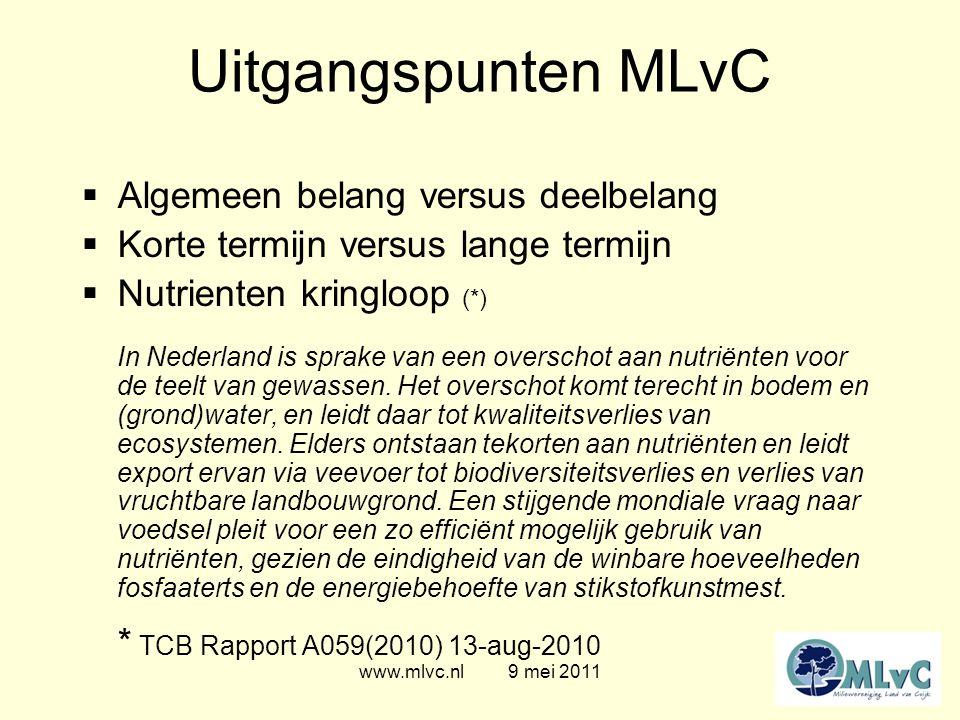 www.mlvc.nl 9 mei 2011 Uitgangspunten MLvC  Nutrienten - Stikstof (N) (ammoniak)(nitraat), Fosfaat (P), Kalium (K)  Kringloop - evenwicht van aan- en afvoer - evenwicht van veevoer en mest  Piekbelasting - stank, ammoniak, fijnstof, nitraat,..