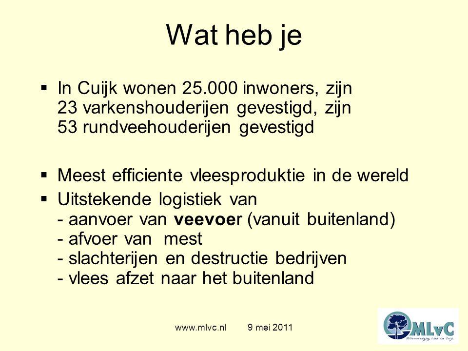 www.mlvc.nl 9 mei 2011 Wat heb je  Gezondheid - MRSA waarschuwing in het ziekenhuis - ESBL in kippenvlees - Resistente bacterien in groenten - Q-koorts patienten - Hoog fijnstof concentratie  Toename 6% geuremissie in Cuijk vanaf 2008 (en nog geen verplaatsingen)