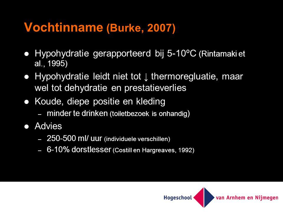 Vochtinname (Burke, 2007) Hypohydratie gerapporteerd bij 5-10ºC (Rintamaki et al., 1995) Hypohydratie leidt niet tot ↓ thermoregluatie, maar wel tot dehydratie en prestatieverlies Koude, diepe positie en kleding – minder te drinken (toiletbezoek is onhandig ) Advies – 250-500 ml/ uur (individuele verschillen) – 6-10% dorstlesser (Costill en Hargreaves, 1992)