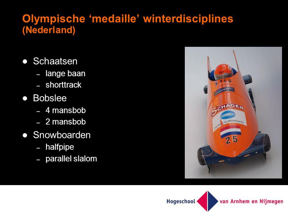 Olympische 'medaille' winterdisciplines (Nederland) Schaatsen – lange baan – shorttrack Bobslee – 4 mansbob – 2 mansbob Snowboarden – halfpipe – parallel slalom