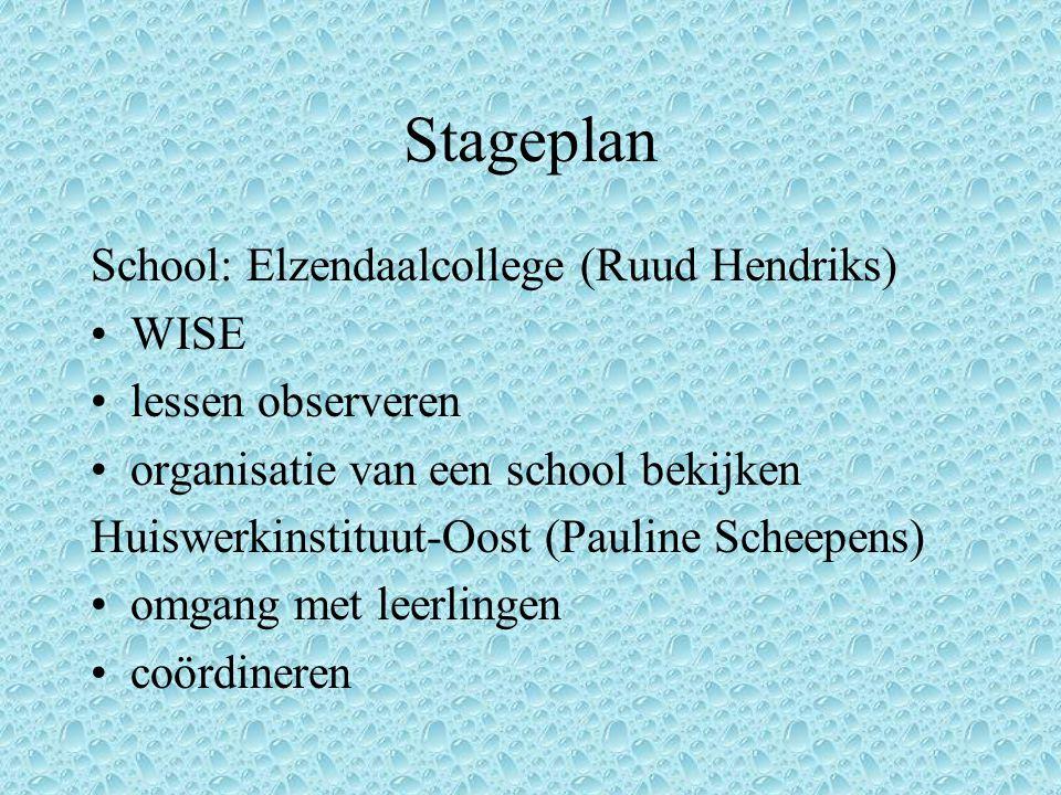 Stageplan School: Elzendaalcollege (Ruud Hendriks) WISE lessen observeren organisatie van een school bekijken Huiswerkinstituut-Oost (Pauline Scheepens) omgang met leerlingen coördineren
