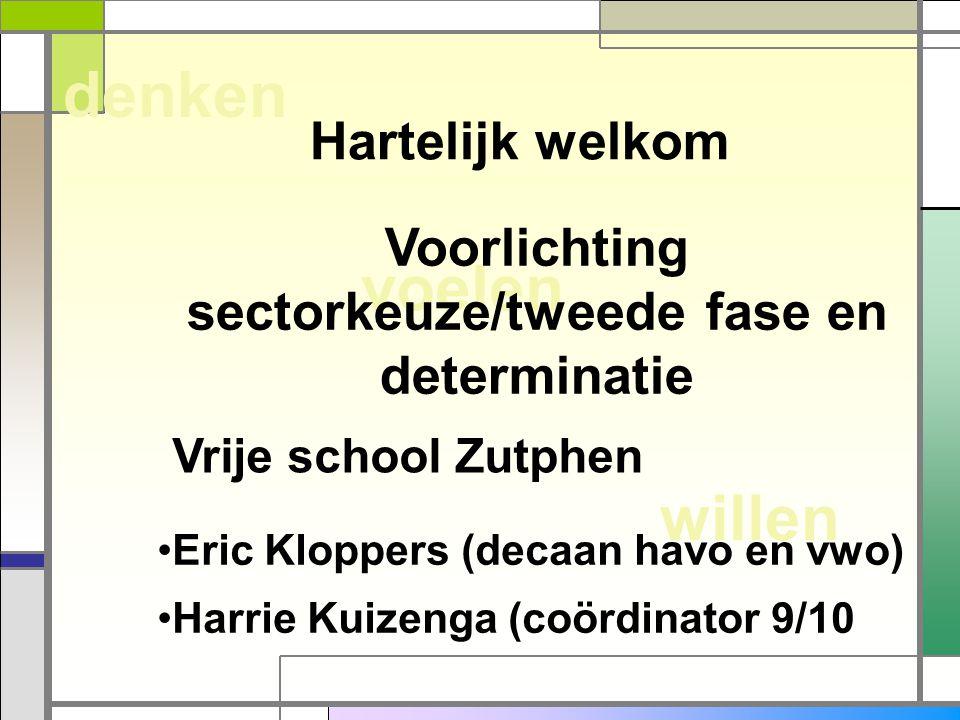 willen voelen denken Hartelijk welkom Voorlichting sectorkeuze/tweede fase en determinatie Eric Kloppers (decaan havo en vwo) Harrie Kuizenga (coördin