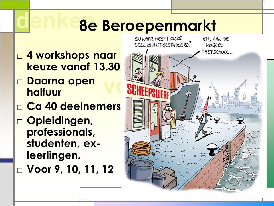 willen voelen denken 8e Beroepenmarkt □ 4 workshops naar keuze vanaf 13.30 □ Daarna open halfuur □ Ca 40 deelnemers □ Opleidingen, professionals, stud