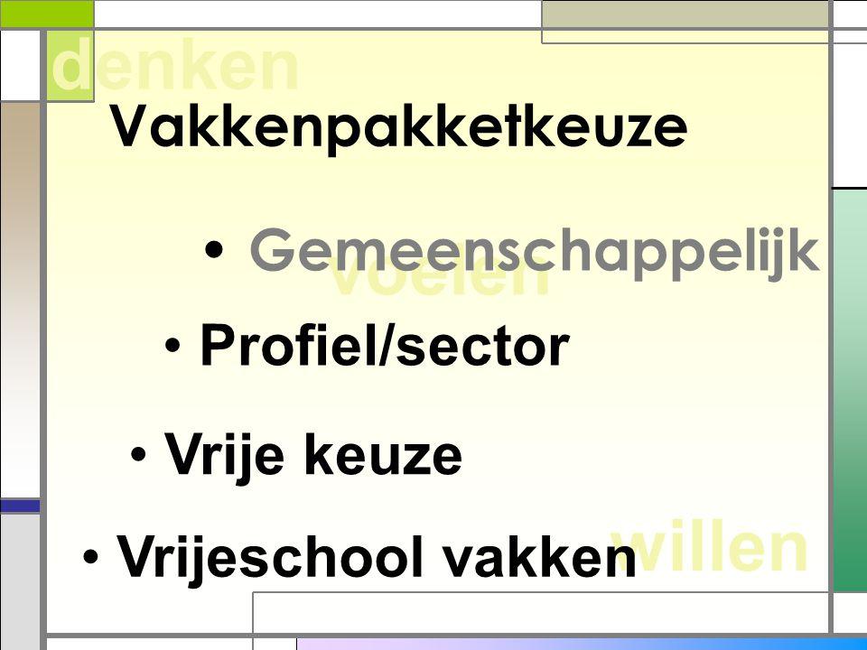 willen voelen denken Vakkenpakketkeuze Gemeenschappelijk Profiel/sector Vrije keuze Vrijeschool vakken