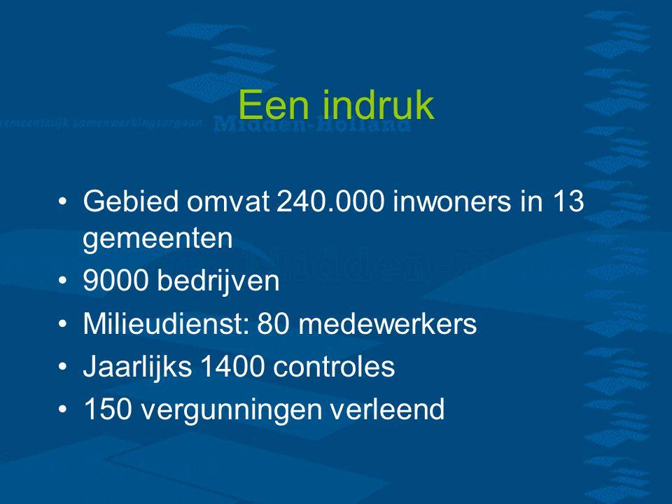 Een indruk Gebied omvat 240.000 inwoners in 13 gemeenten 9000 bedrijven Milieudienst: 80 medewerkers Jaarlijks 1400 controles 150 vergunningen verleend