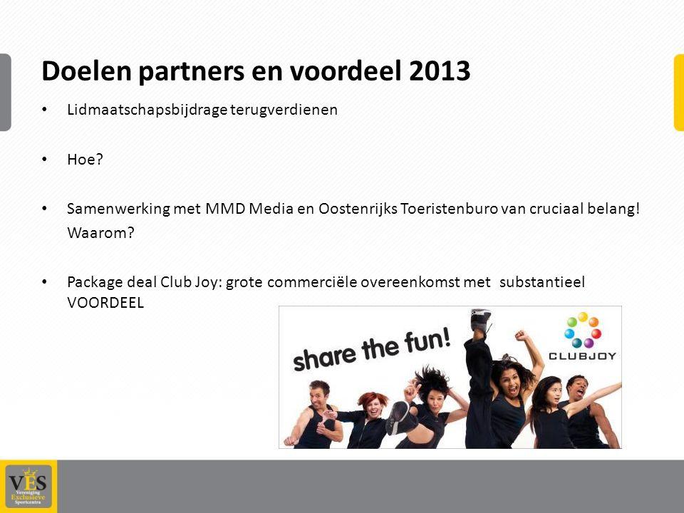 Doelen partners en voordeel 2013 Lidmaatschapsbijdrage terugverdienen Hoe.
