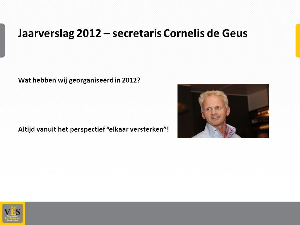 Jaarverslag 2012 – secretaris Cornelis de Geus Wat hebben wij georganiseerd in 2012.