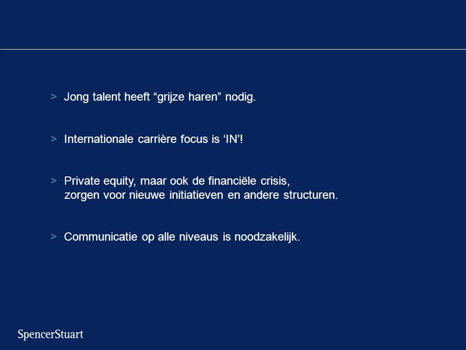 """>Jong talent heeft """"grijze haren"""" nodig. >Internationale carrière focus is 'IN'! >Private equity, maar ook de financiële crisis, zorgen voor nieuwe in"""