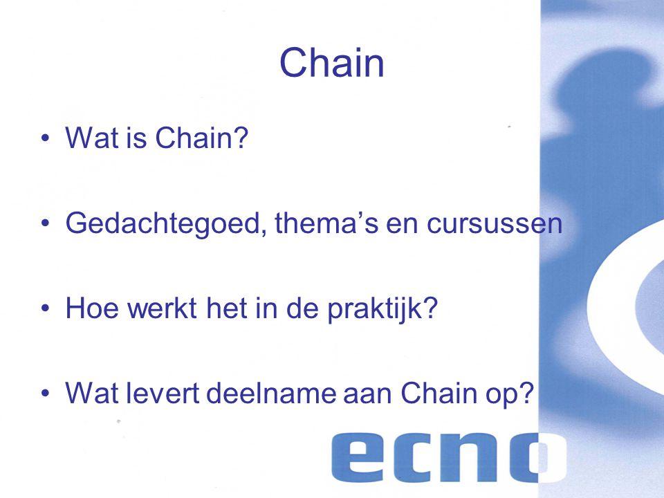 Chain Wat is Chain. Gedachtegoed, thema's en cursussen Hoe werkt het in de praktijk.